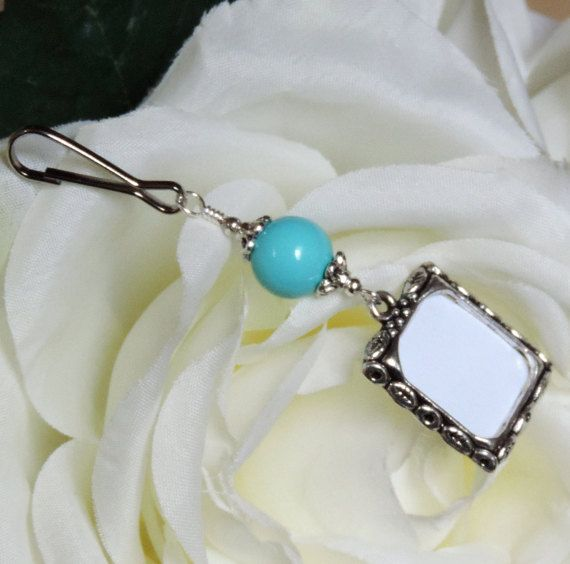 Sky blue Wedding bouquet photo charm. Something blue for the bride to be! Handmade by SmilingBlueDog