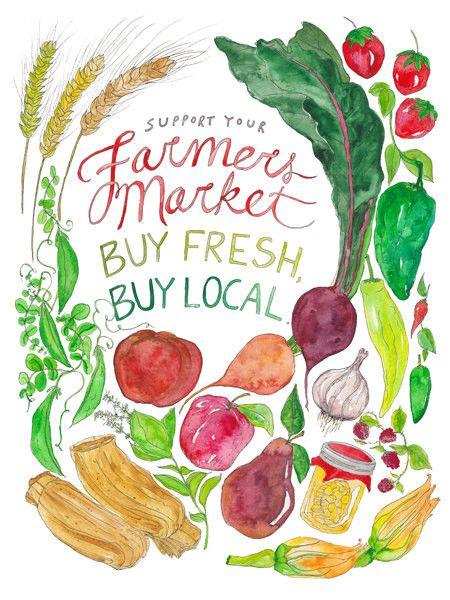 Farmers Market - Watercolor Print
