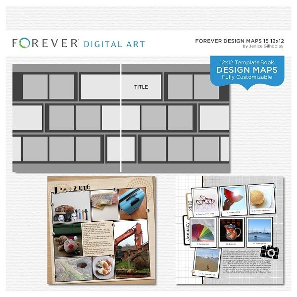 Forever Design Maps 15 12x12 This photo-ready Design Maps template is fully customizable for 12 x 12 or 8 x 8 pages. Includes 1 cover and 29 pages.  Contains: 29 templates 12 x 12 (or 8x8) plus 1 cover template, all fully customizable.