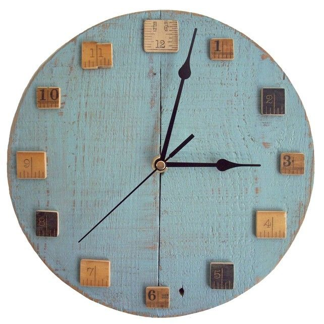 Light Blue Wall Clock with Vintage Wooden Rulers by Reclaimed Time