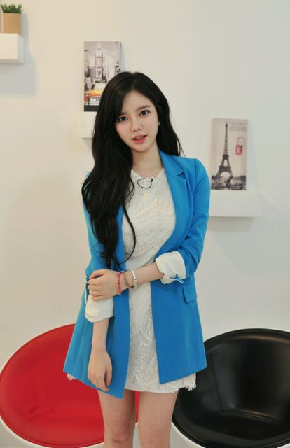 Blue jacket whet lace dress