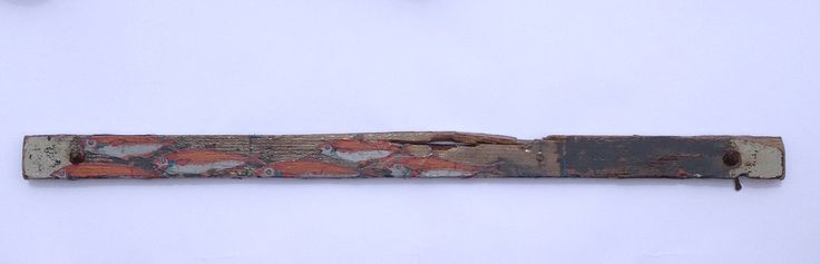 """Driftwood Art - """"Red Fish"""" Mixed media (watersoluble pencils, acrylic paint, organza) on found wood. Lisa McGregor"""