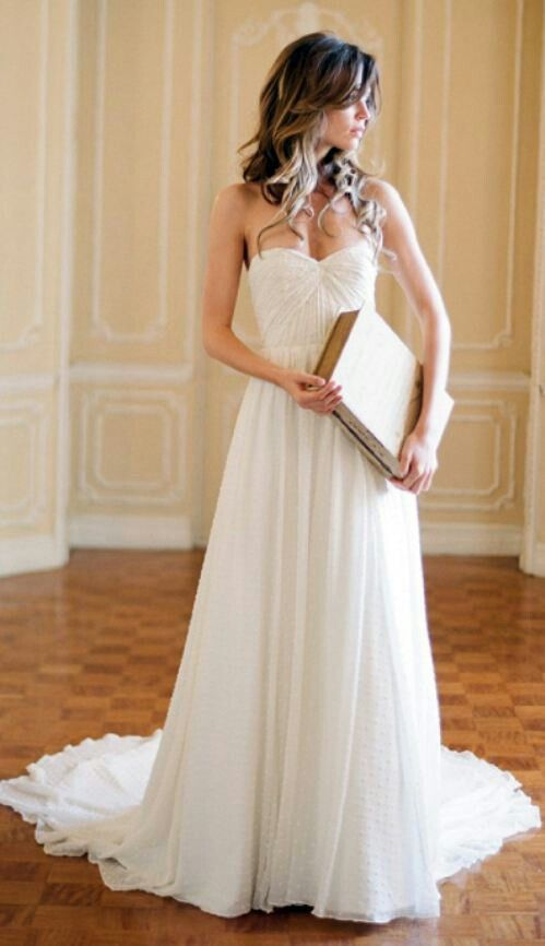 Im already married, but this dress is just gorgeous!  Heart shape, simple wedding dress