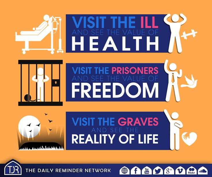Visit the ill and see the value of health.  Visit the prisoners and see the value of freedom.  Visit the graves and see the reality of life.