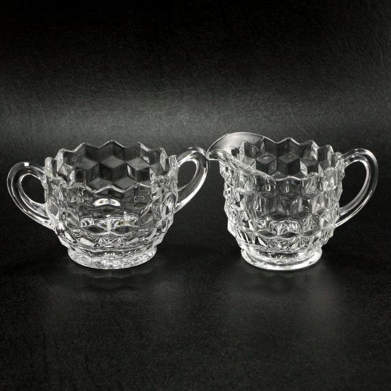Fostoria American Glass Creamer Sugar Vtg by charmings on Etsy, $12.00
