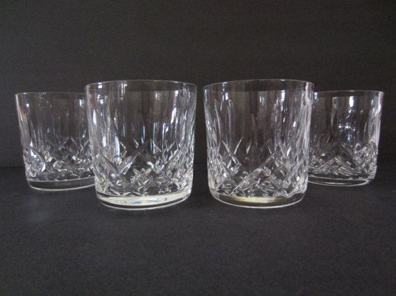 Waterford Crystal Lismore Old Fashioned Glasses, 4/ Waterford Lismore Crystal Tumblers.  Old etched waterford mark.  2.75 x 3.25 inches tall