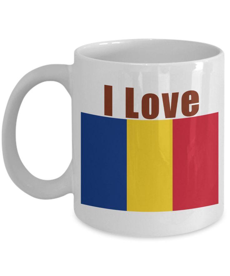 I Love Romania Coffee Mug With A Flag