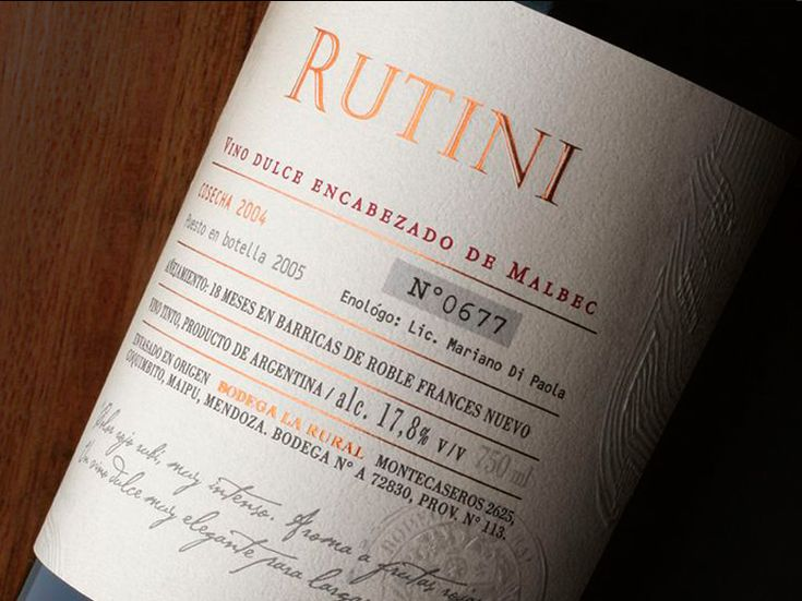 "RUTINI WINES (Argentina) / ""ENCABEZADO"" de Malbec / Packaging Design"