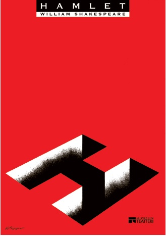 By Kari Piippo, Theater poster, Hamlet. (born 1945, Finnish graphic designer)