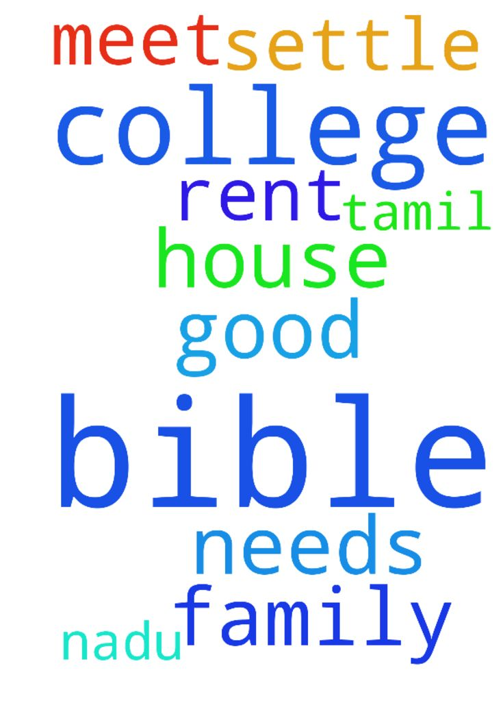 please pray after our  bible college we - please pray after our bible college we as family need to settle in tamil nadu , we need help from god to rent good house ,god should meet our needs . Posted at: https://prayerrequest.com/t/vob #pray #prayer #request #prayerrequest