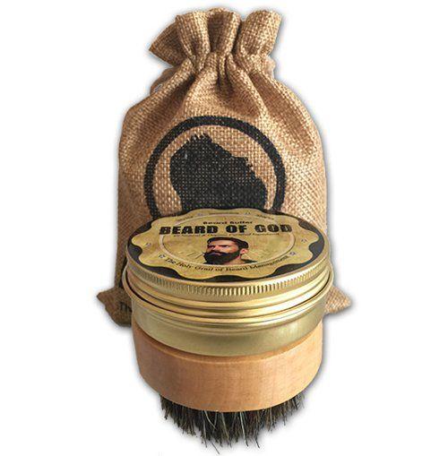 Leave-In 2oz Beard Butter Conditioner + Wooden Boar Brush & Sack / Beard of God