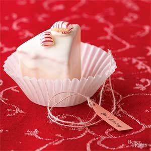 These tiny triangular petits fours are coated in a surprisingly delicious fondant frosting made from white chocolate and canned frosting. Wrap several in a small decorated box for a gift, or place in small cupcake liners on a platter.