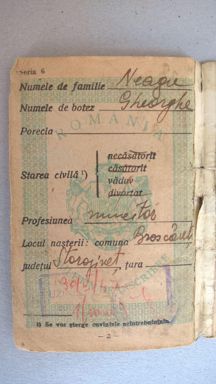 My Ex. Grandfather NEAGU GHEORGHE , Born in 17 April 1882 in Broscauti - Storojinet , and Dead ! in Year 1970 ? , in Bucharest ! Grandson NEAGU MIRCEA  54 Years , Born in 29 April 1963 in Bucharest , with My Addressee : NEAGU MIRCEA - Bulevardul Mihai Bravu Nr.98-106 Bloc D.16 Sc.1 Etaj 6 Ap.23 Sector 2 Of.Postal 39 Cod.-021332 Bucharest .