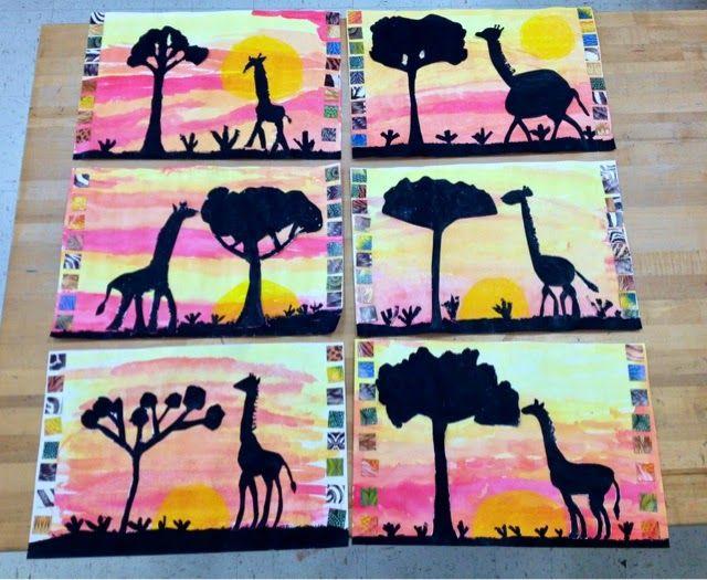 African watercolor sunset/giraffe silhouette/Grade 1-3/Art with Mr. Giannetto Blog