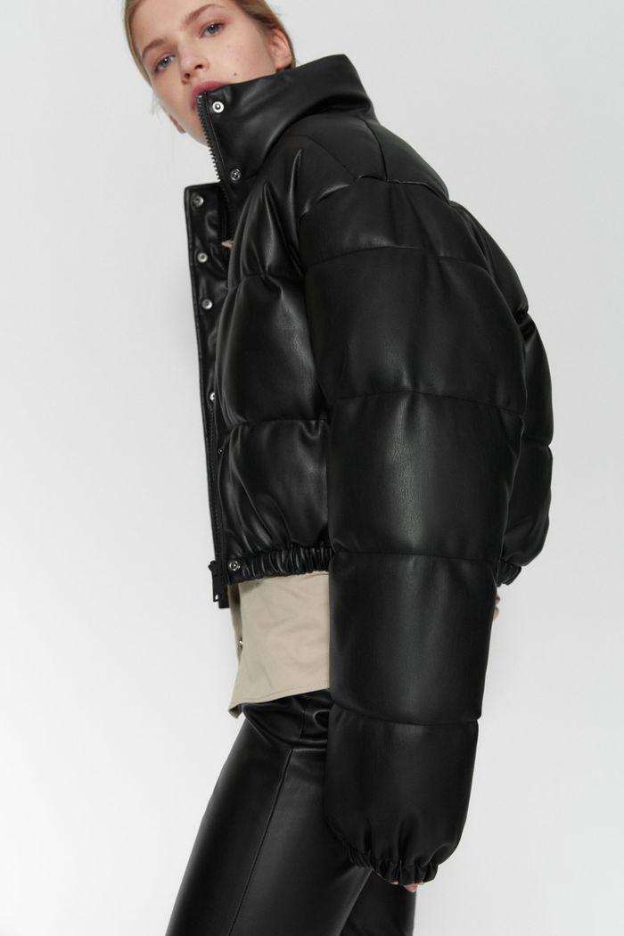 Zara Faux Leather Puffer Jacket In 2020 Zara Leather Pants Zara Leather Faux Leather Jackets