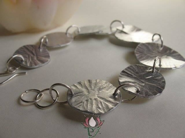 Lotus Leaf bracelet aluminium and indiansilver handmade by PadmaJewels