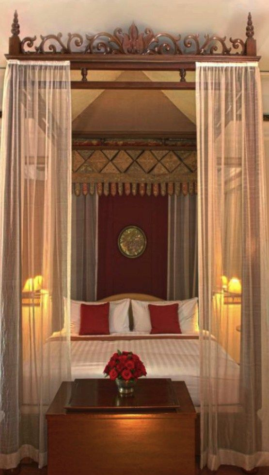 A Fairytale Four Poster Bed at the Dharmawangsa Hotel in Jakarta.