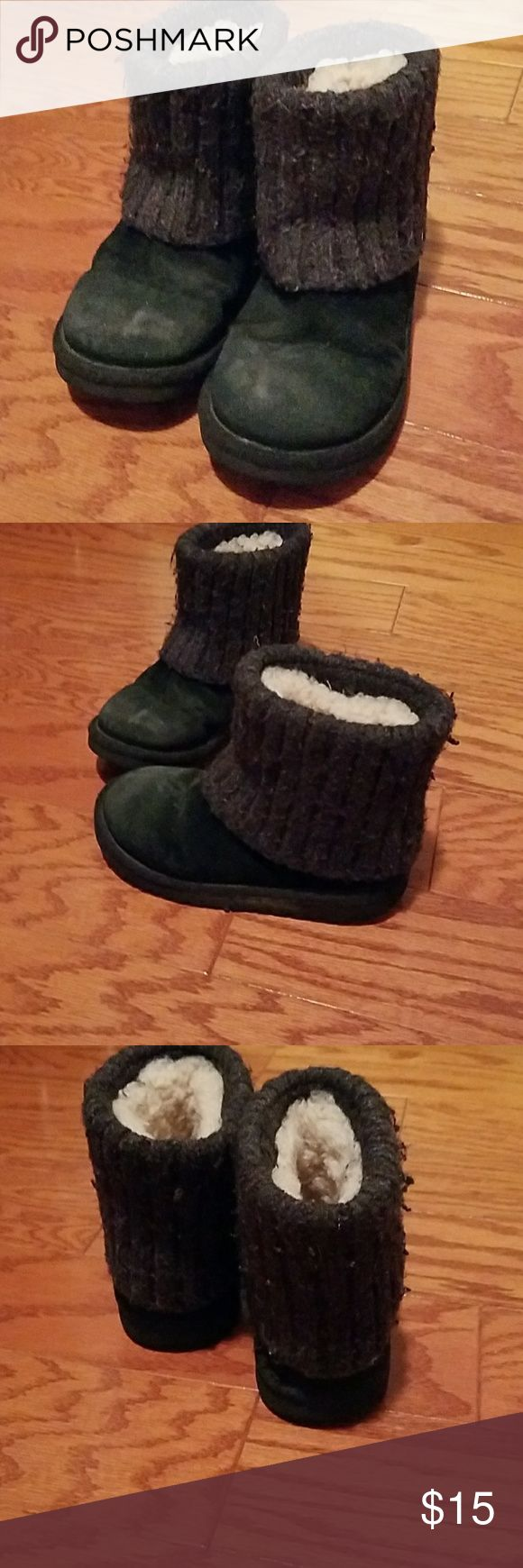 Ugg black short boots for girls Black suede with a sweater trim UGG Shoes Rain & Snow Boots