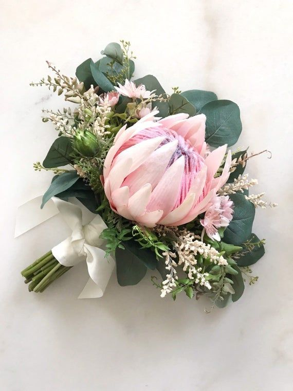 King Protea Bouquet In Baby Pink Tones With Eucalyptus Etsy Protea Bouquet Flower Bouquet Wedding Wedding Bouquets