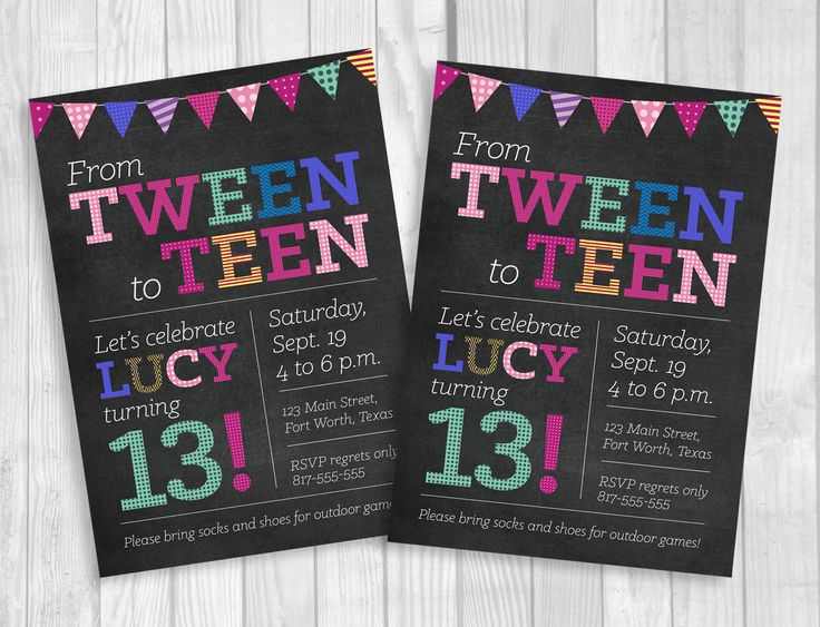 Its a big day for your little girl - when she transitions from a tween to a teen! Weddings by Susan is now offering DIY Digital Download birthday invitations. This listing is for one printable, digital copy of my 5x7 chalkboard Tween to Teen 13th birthday party design that will be personalized with your party information. You can print as many copies of this design on your choice of card stock at home, email the invitation to friends and family or upload the file to a professional printer…