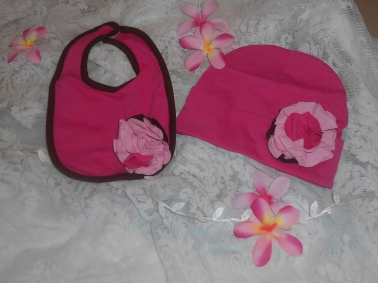 Itty Bitty and Pretty Blossom Hat and Bib set Strawberry sundae