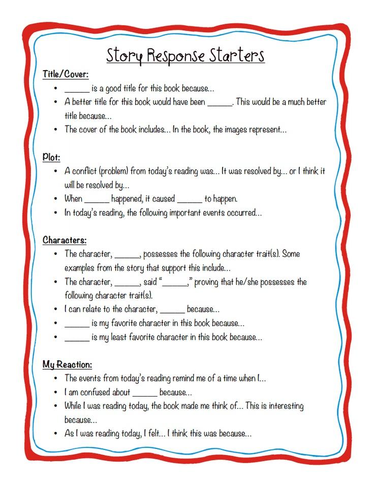 story response starters pdf