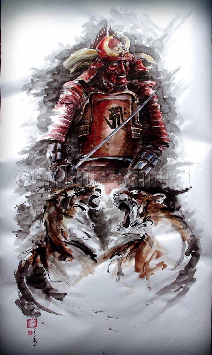Samurai-with-tigers-bushido-painting-art.jpg (900×1503)