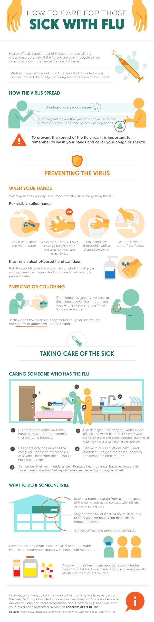 How To Care for Those Sick With Flu #infographic #Flu #Health #HowTo