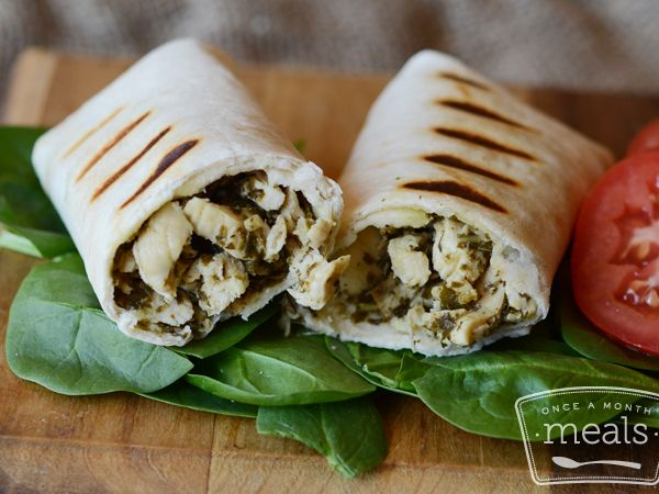 Grilled Chicken Pesto Wraps | OAMC from Once A Month Meals | Freezer Meals | Freezer Friendly | Weight Watchers 4 Points Plus