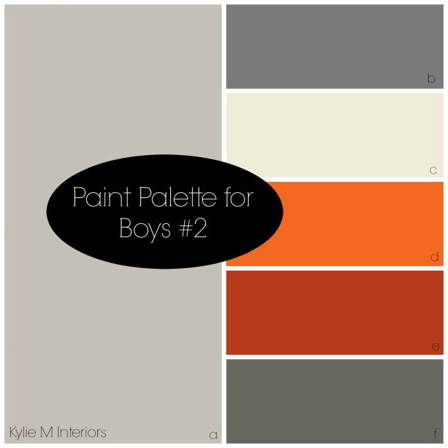 Beautiful and relaxing paint colour palette for boys room.  Good for a rustic, industrial look in a kids bedroom of any age #KidsDecoratingIdeas #BoysBedroom