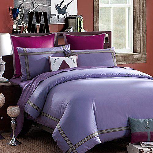 lovo ideal life 100% cotton 4-piece bedding set | LOVO Ideal Life 100% Cotton 4-Piece Bedding Set Duvet Cover Flat Sheet ...