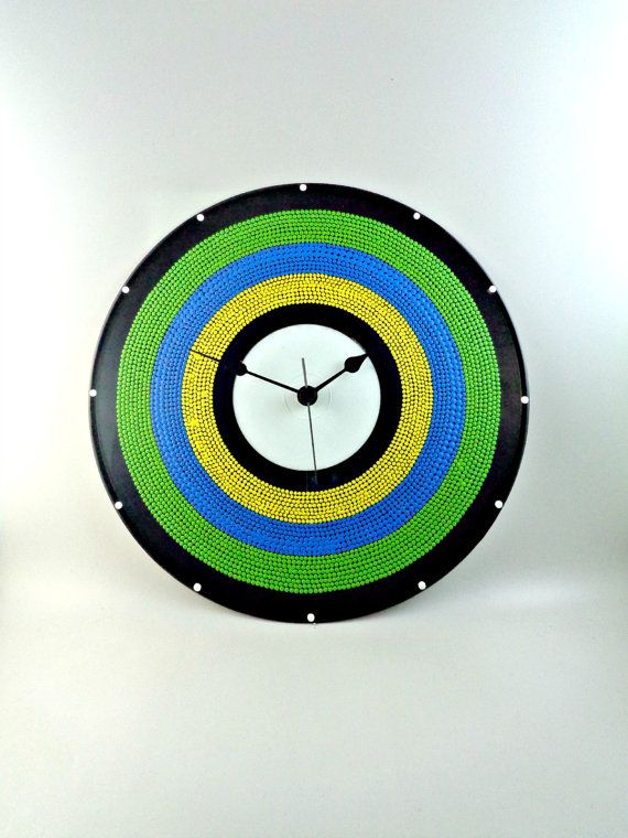 Brazil Vinyl Clock Hand Painted Green Blue Yellow by InsaneDotting