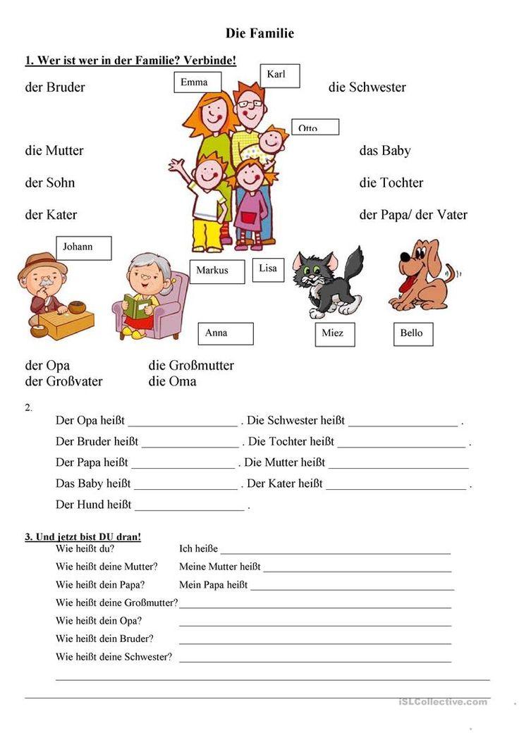 die Familie Arbeitsblatt - Kostenlose DAF Arbeitsblätter
