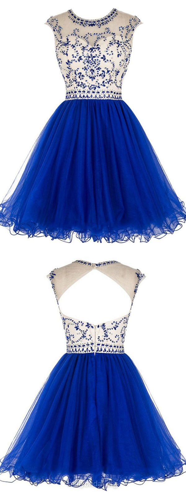 Discounted Blue Prom Dresses, A-line Scoop Neck Cocktail Dress, Tulle Short Formal Party Gowns, Beading Open Back Homecoming Dresses