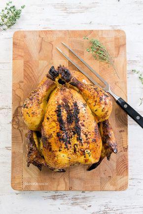 Saftiges Brathähnchen mit feinem Honiggeschmack, Chilli & Thymian. #chicken | malteskitchen.de