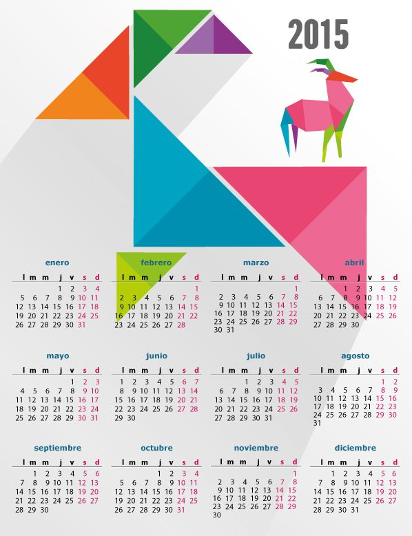 Calendario 2015 del año del carnero, editable y en español (castellano), para Illustrator, Corel, Inkscape, Photoshop por capas. Descarga gratis.