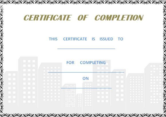 Certificate Of Completion Construction Certificate Of Completion