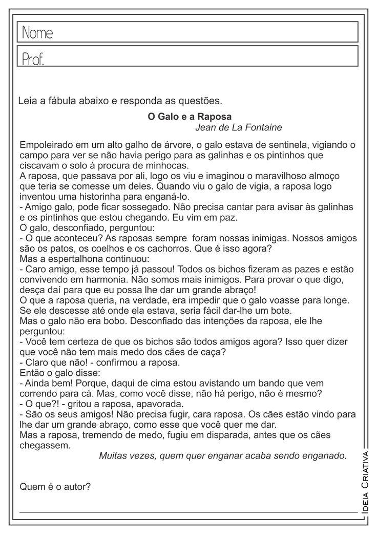 Atividades Educativas Interpretação de Texto - Fábula Língua Portuguesa para Ensino Fundamental