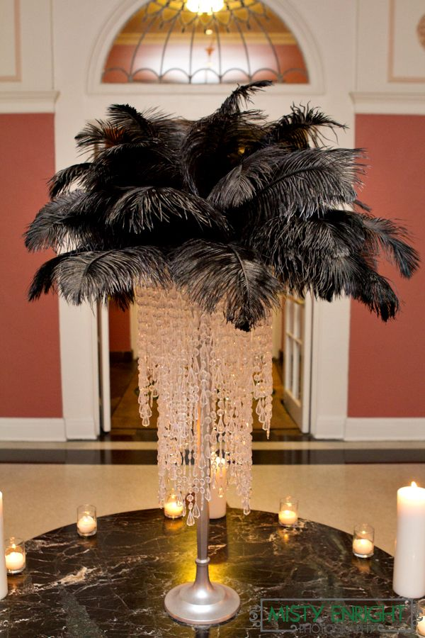 S hollywood wedding feather crystal centerpiece old