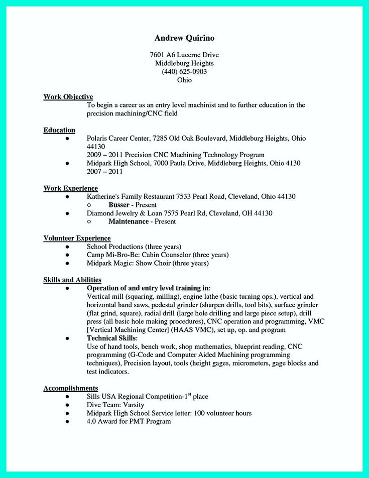 Cnc machinist resume samples visualcv resume samples database