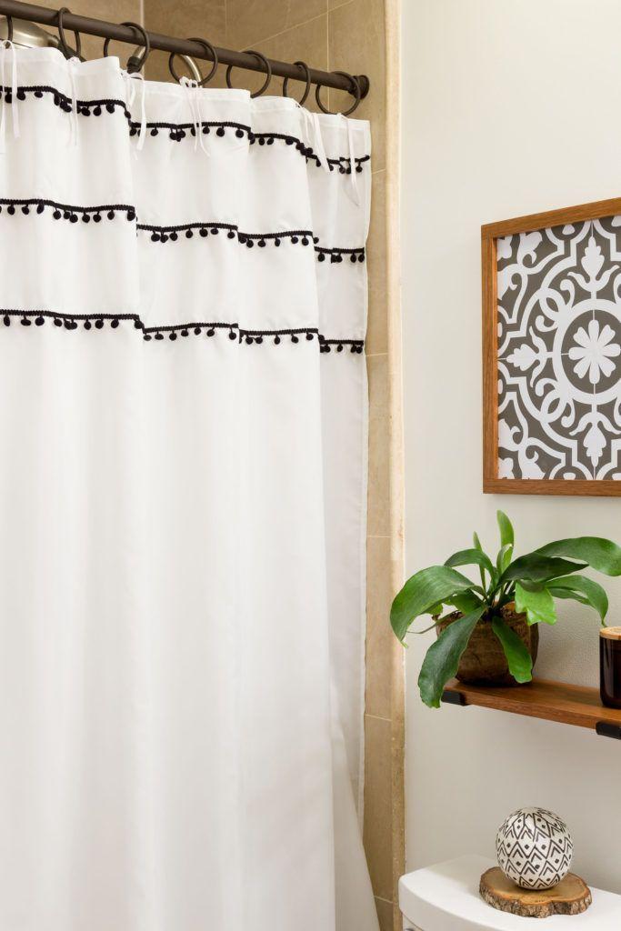 Shower Curtain Ties Bathroom Update Boho Style Budget Friendly