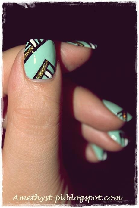 25 beautiful black white nails ideas on pinterest dot nail turquoise mint with black white gold glitter details nail art design amethyst prinsesfo Choice Image