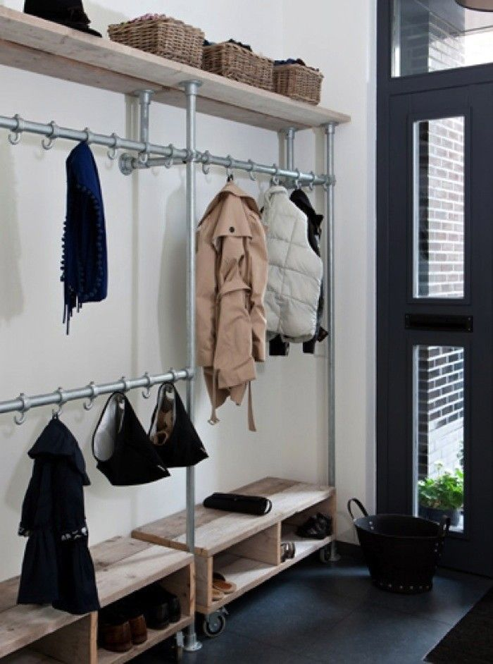 Entryway Storage Made from Industrial Pipes and S Hooks | Remodelista