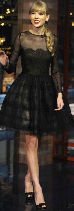 Black Lace Scallop Dress