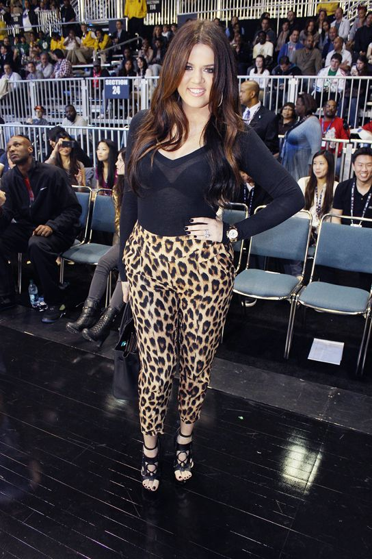 Khloe Kardashian in leopard pants - love this outfit ...