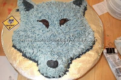 Michaela-Wolf Cake: I made this Wolf cake for the end of the year party for Wolf Cub Scouts.  I used the Wilton animal crackers pan and cut the ears off then moved the higher