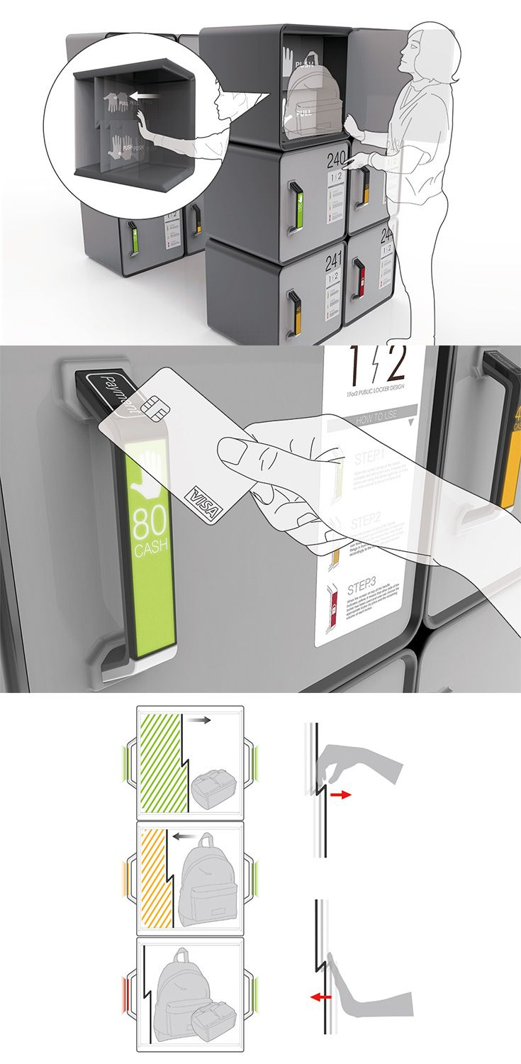 The idea behind the '1 for 2 Public Locker' is that you only pay for what you use, since there is no sense in paying the same amount for storing a small article as a much larger package and it wastes valuable space... READ MORE at Yanko Design !