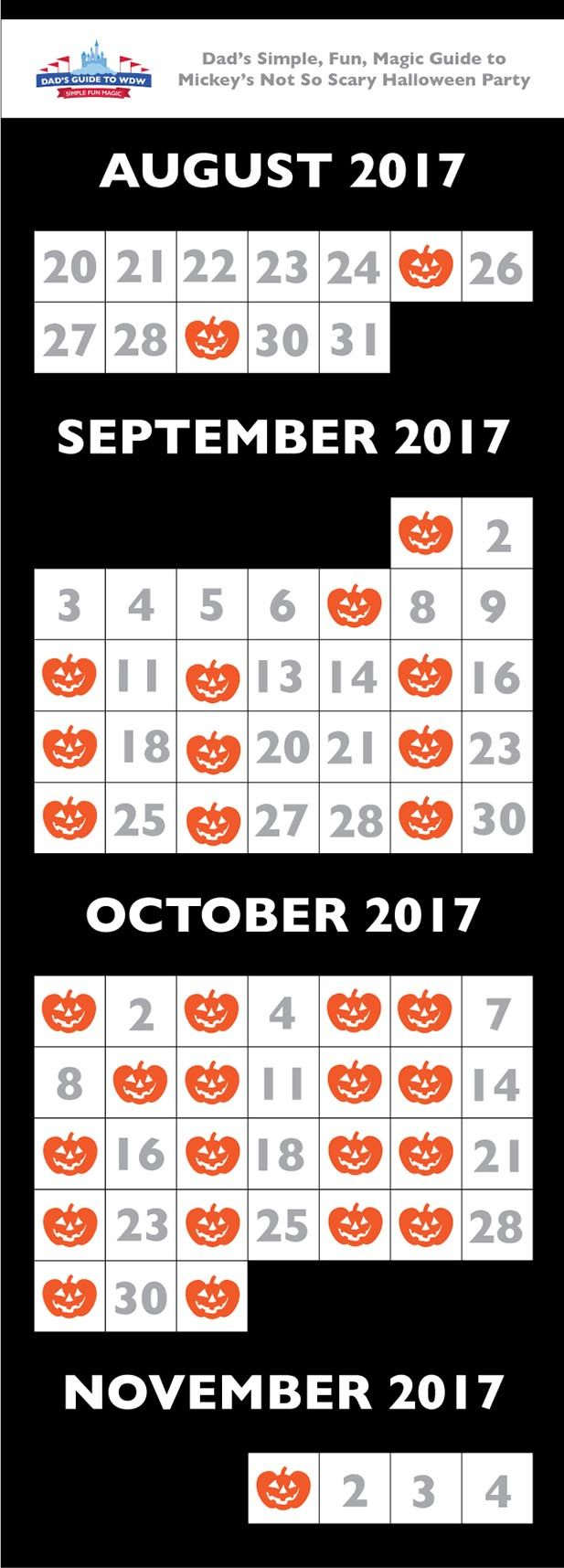 Mickey's Not So Scary Halloween Party Calendar 2017