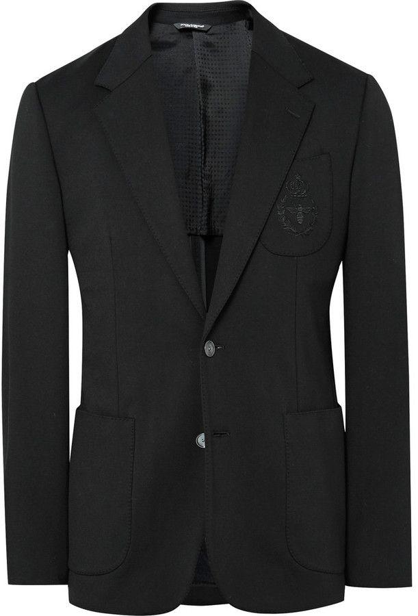 Dolce & Gabbana Black Slim-Fit Embroidered Stretch-Jersey Blazer