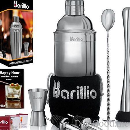 Elite Cocktail Shaker Set Bartender Kit by BARILLIO: 24 oz Stainless Steel Martini Mixer Muddler Mixing Spoon jigger 2 liquor pourers Velvet Bag Recipes Booklet & eBook